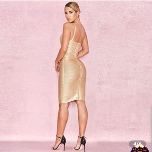 Dresses - Gold bandage dress
